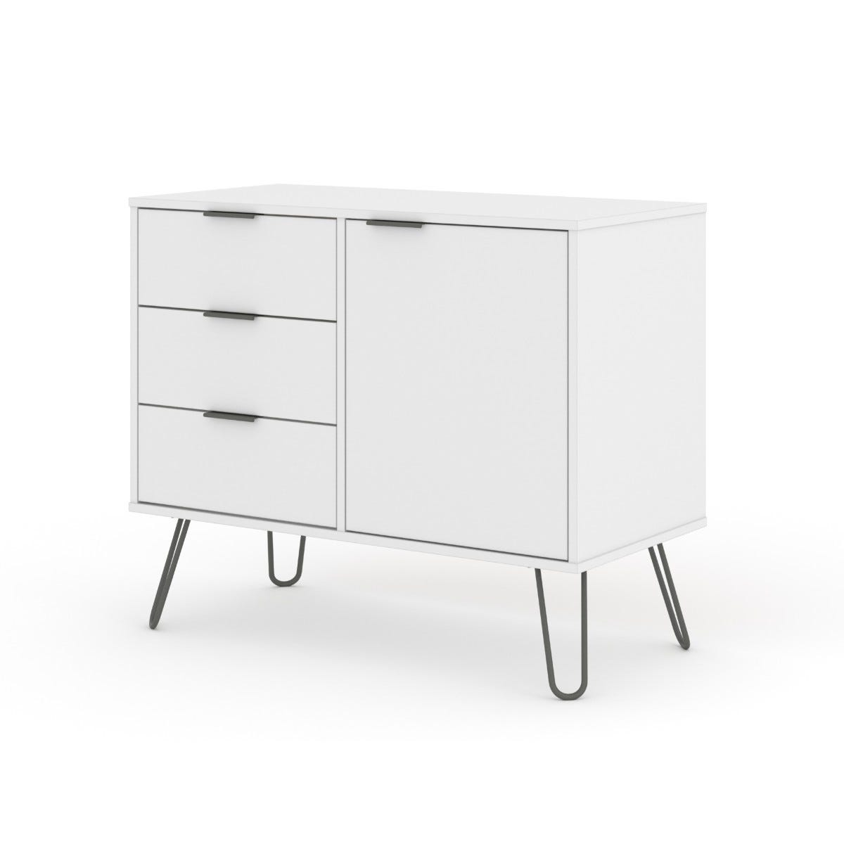 Augusta Small Sideboard With 1 Door 3 Drawers White