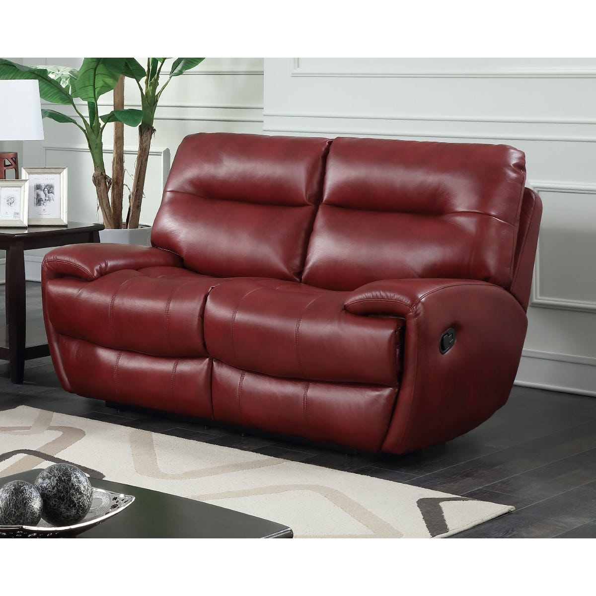 Bampton Recliner 2 Seater Faux Leather Sofa Red