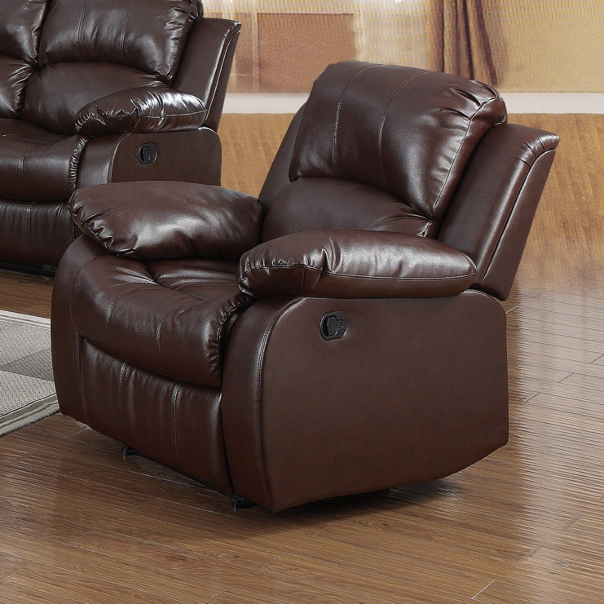 Calne Faux Leather Reclining Armchair Brown