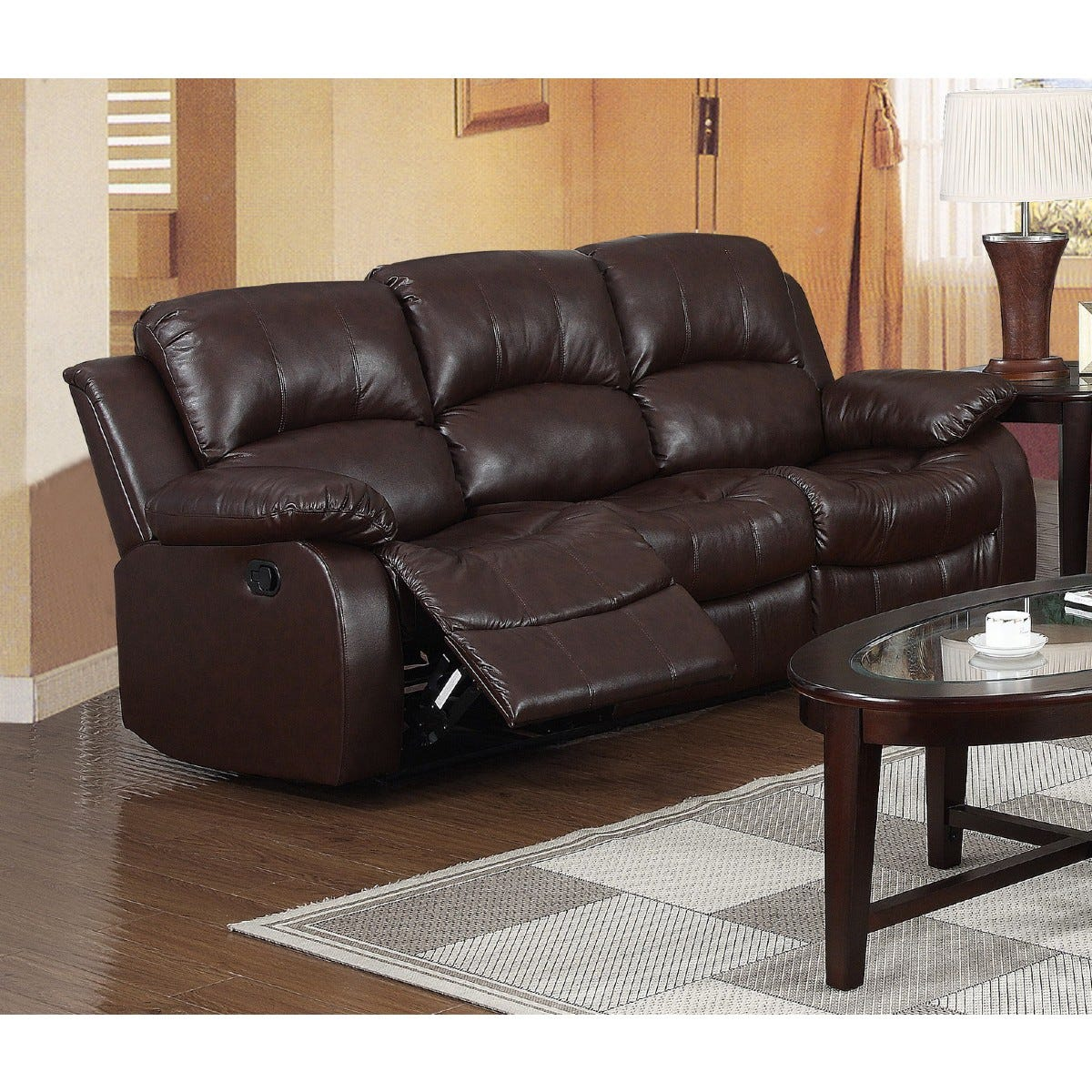 Clare Faux Leather 3 Seater Reclining Sofa Brown
