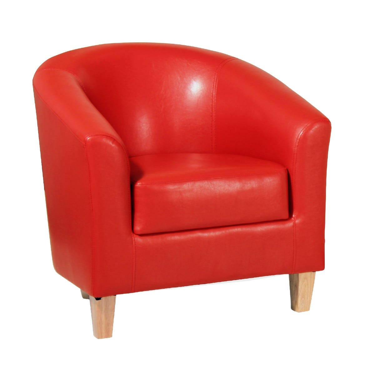 Clare Faux Leather Armchair Red