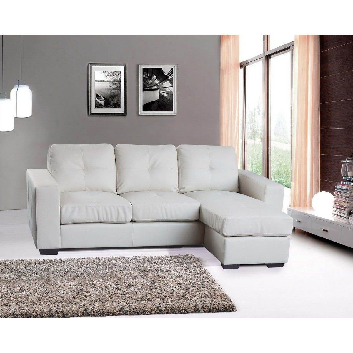 Darwen Bonded Faux Leather Corner Chaise Sofa White