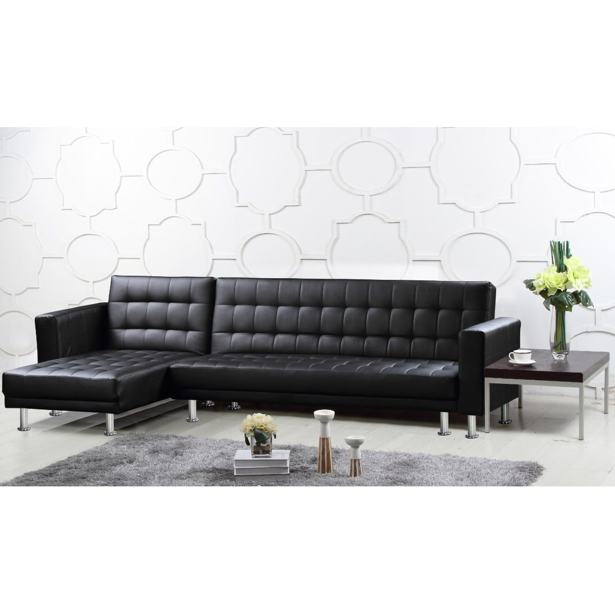 Haxby Corner Chaise Sofa Bed Faux Leather Black