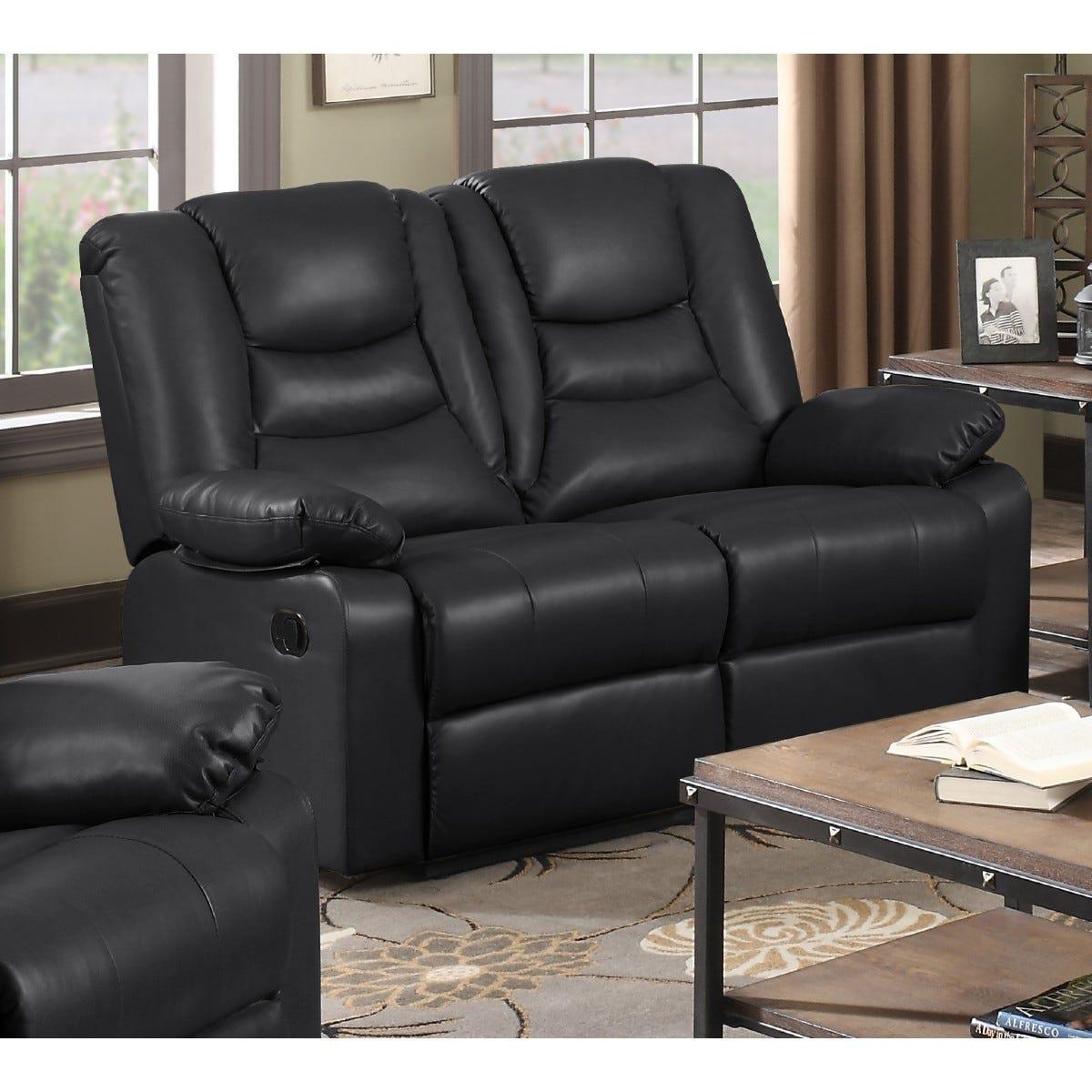 Kington LeatherGel and Faux Leather Reclining 2 Seater Sofa Black