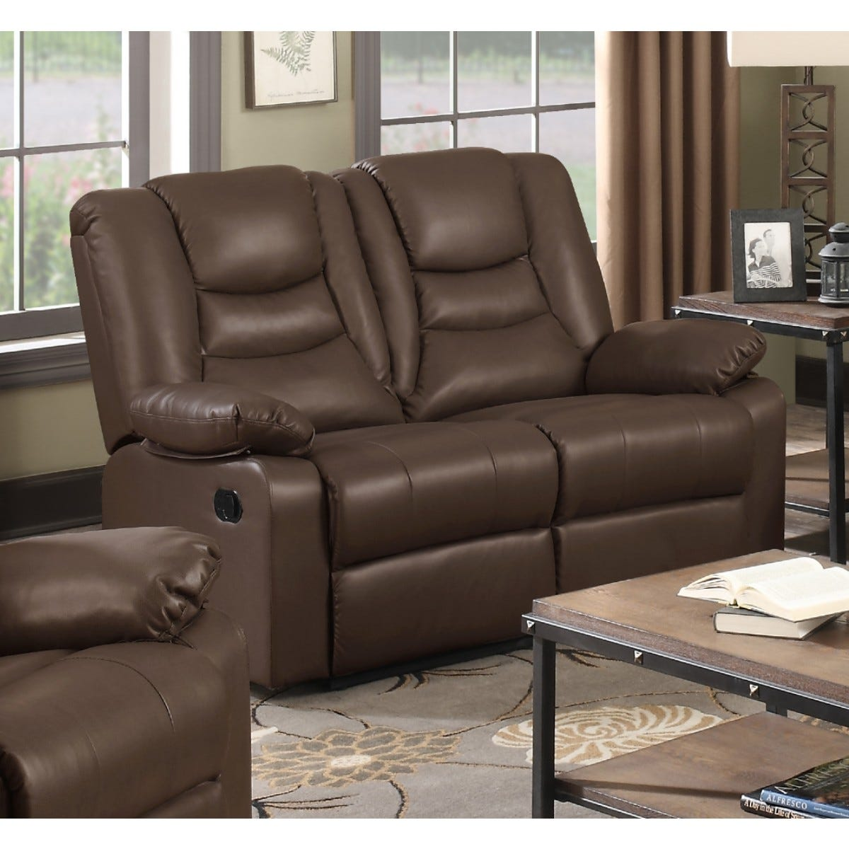Kington LeatherGel and Faux Leather Reclining 2 Seater Sofa Brown