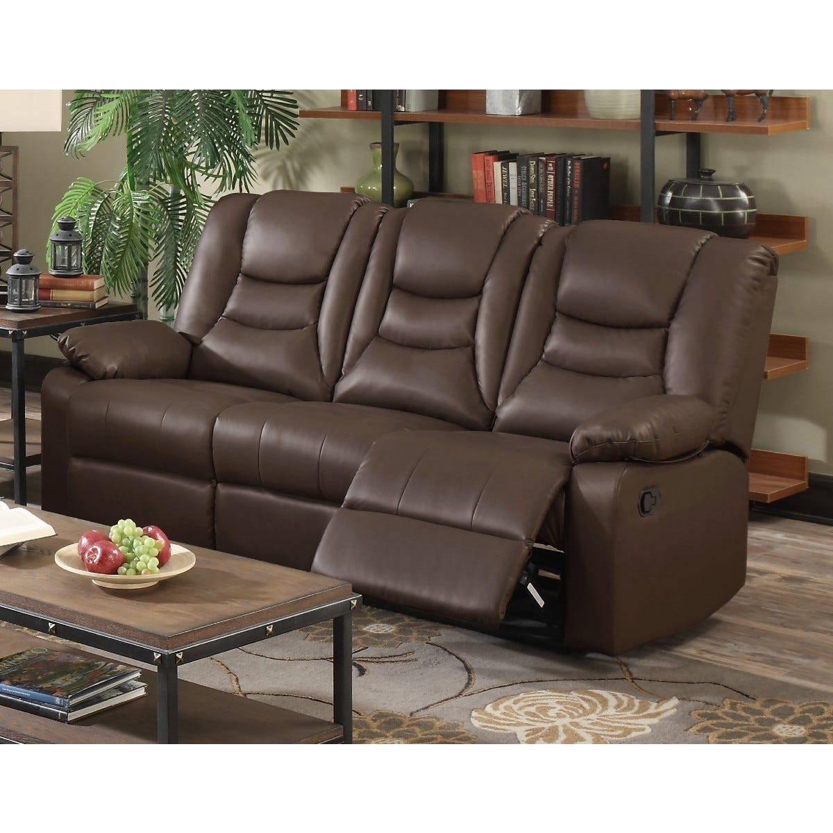 Kington LeatherGel and Faux Leather Reclining 3 Seater Sofa Brown