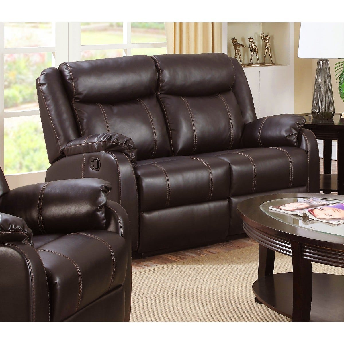 Ledbury Faux Leather Reclining 2 Seater Sofa Brown