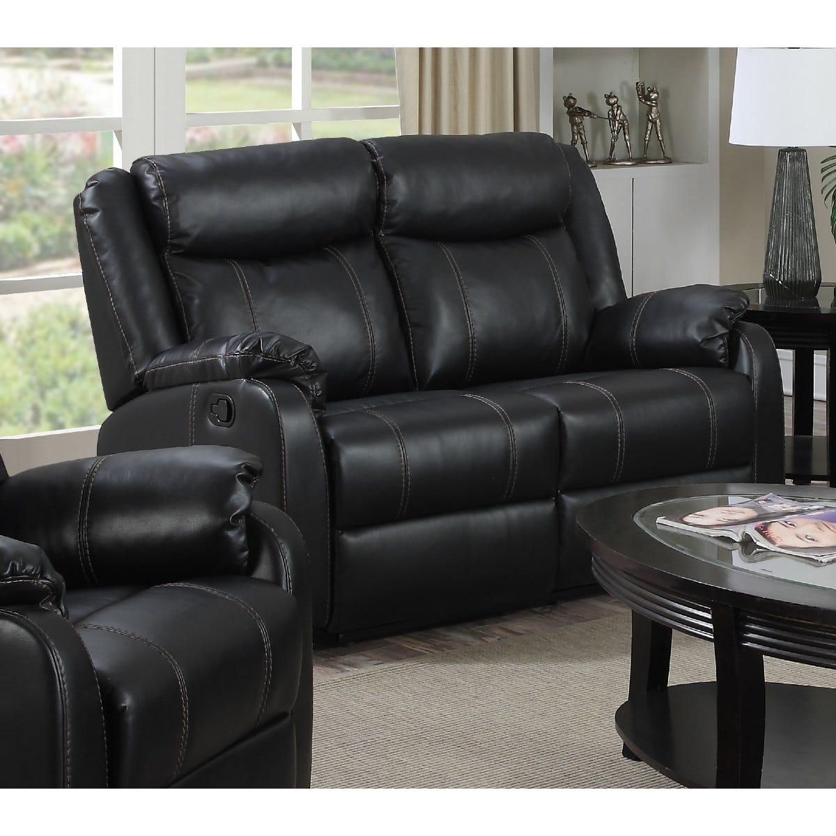 Ledbury Faux Leather Reclining 2 Seater Sofa Gunmetal
