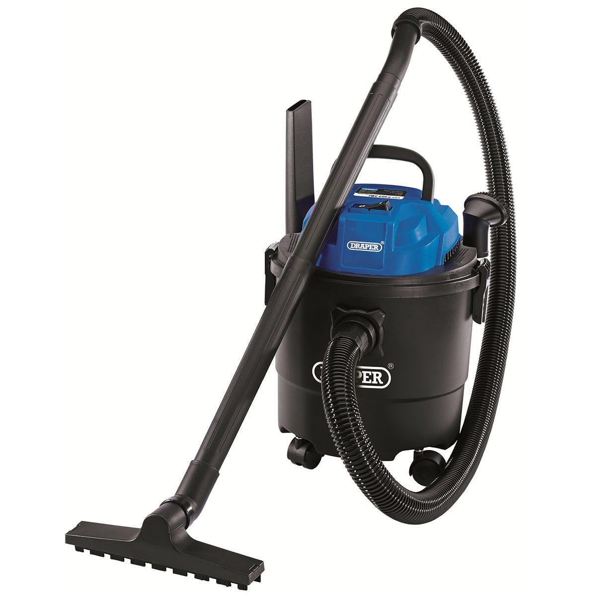 Draper 15L 1250W 230V Wet & Dry Vacuum Cleaner - Blue & Black