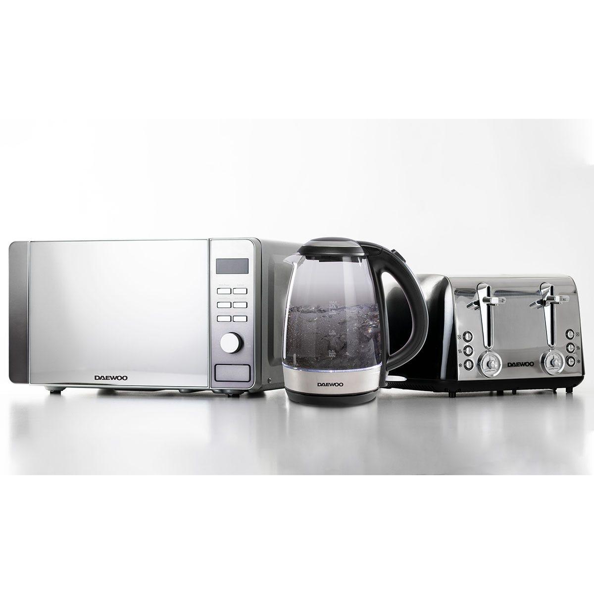 Daewoo Callisto SDA1992GE 1.7L Glass Kettle, Callisto SDA1839GE Retro 4-Slice Toaster, and Callisto SDA1873GE 20L Microwave Bundle - Silver