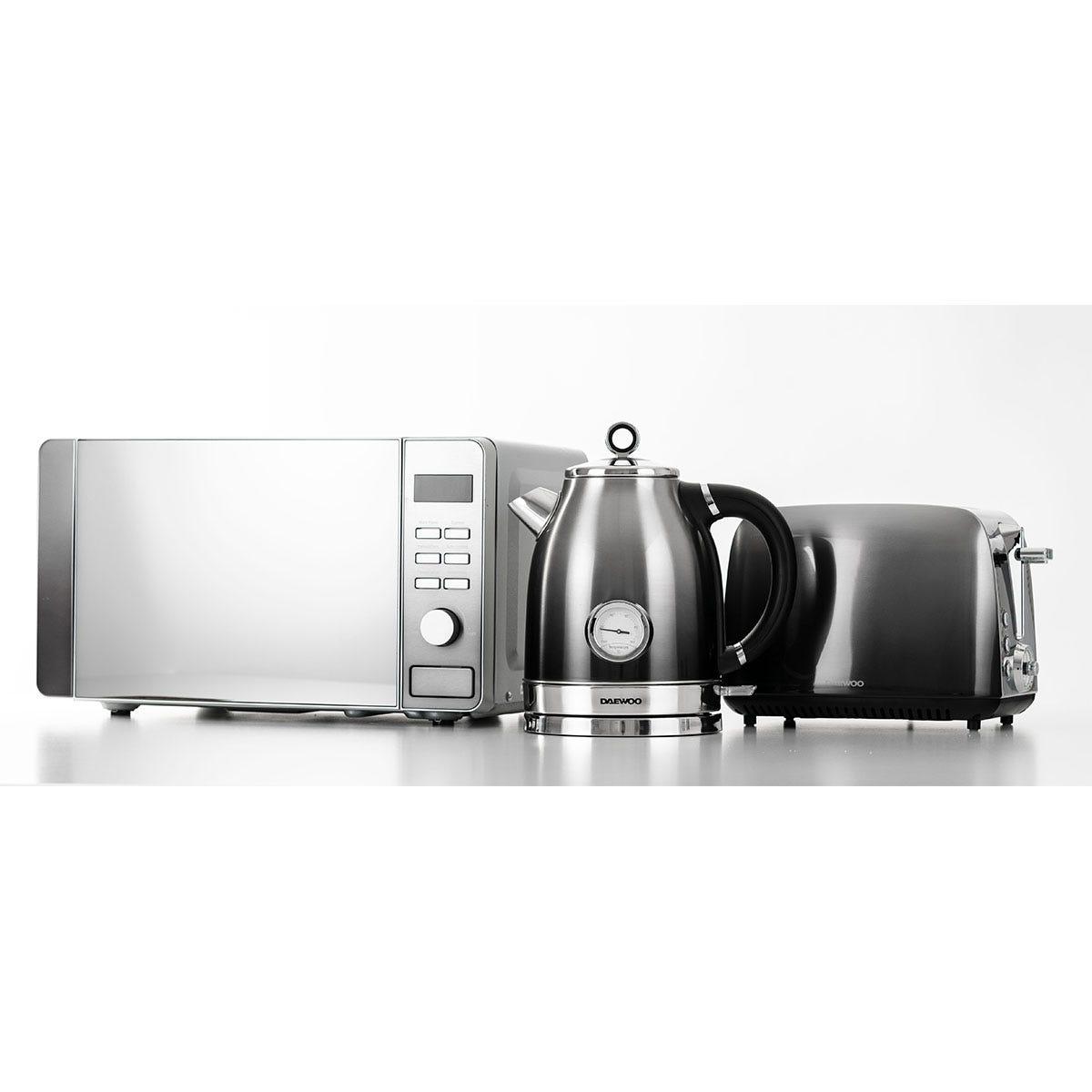 Daewoo Callisto SDA1837GE 1.7L Retro Kettle, Callisto SDA1838GE Retro 2-Slice Toaster, and Callisto SDA1873GE 20L Microwave Bundle - Silver