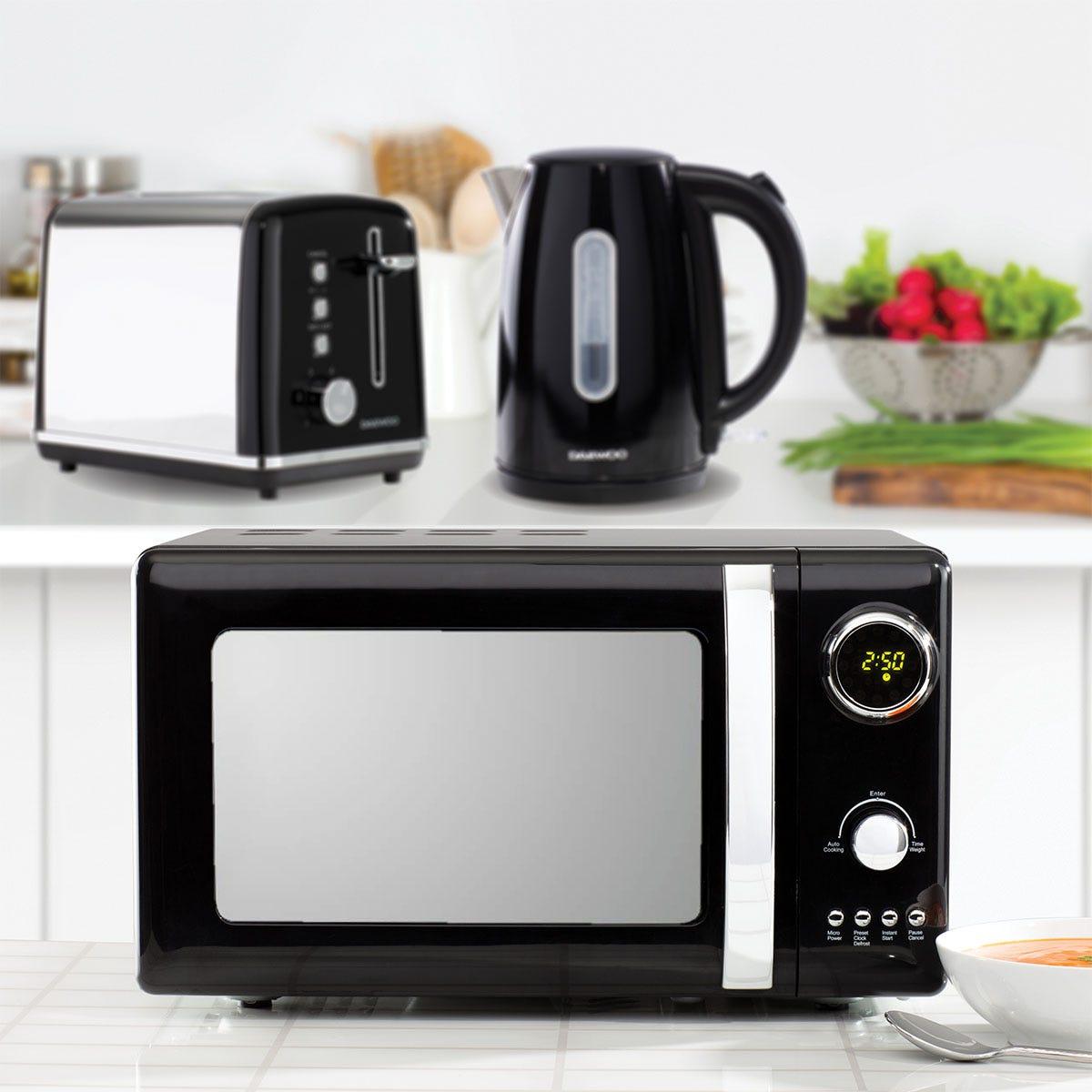 Daewoo Kensington SDA1684GE 1.7L 3KW Jug Kettle, Kensington SDA1583GE 2-Slice Toaster, and Kensington SDA1655GE 20L 800W Digital Microwave Bundle - Black