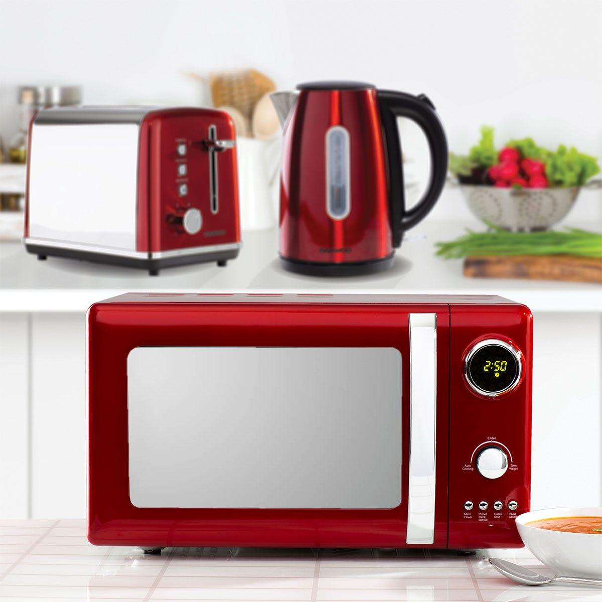 Daewoo Kensington SDA1685GE 1.7L 3KW Jug Kettle, Kensington SDA1584GE 2-Slice Toaster, and Kensington SDA1656GE 20L 800W Digital Microwave Bundle - Red