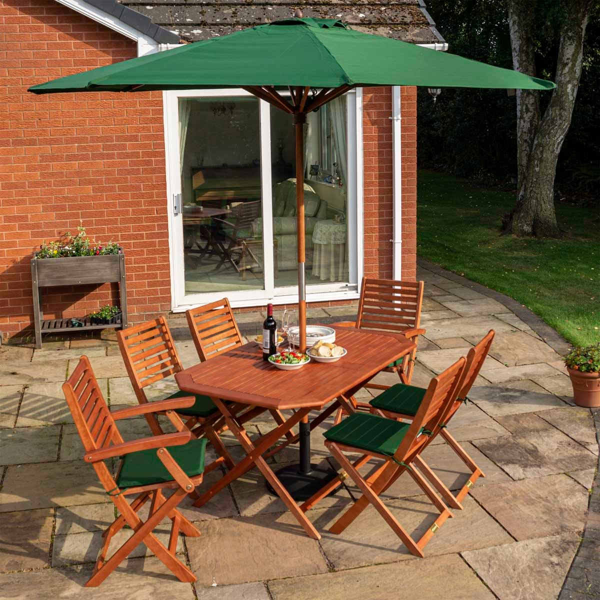 Rowlinson Plumley Set with Green Cushions, Green Parasol and 15Kg Base