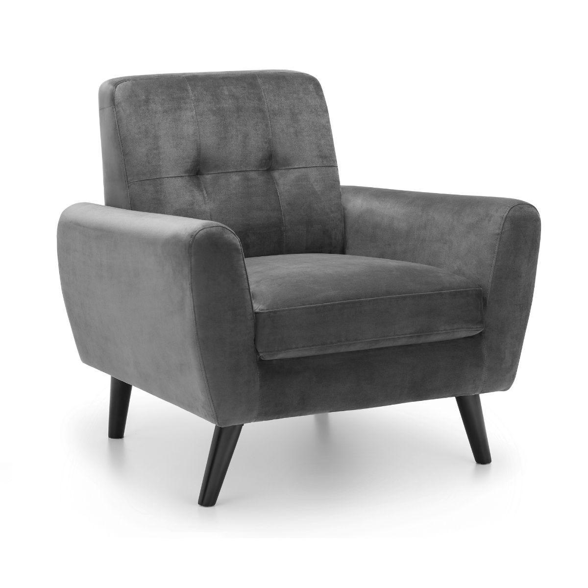 Julian Bowen Monza Armchair in Dark Grey Velvet