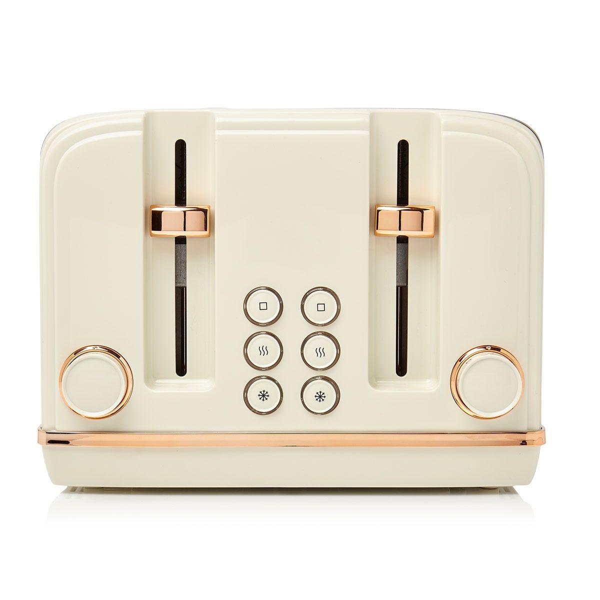 Haden Salcombe 2300W 4 Slice Wide Slot Toaster - Cream/Copper
