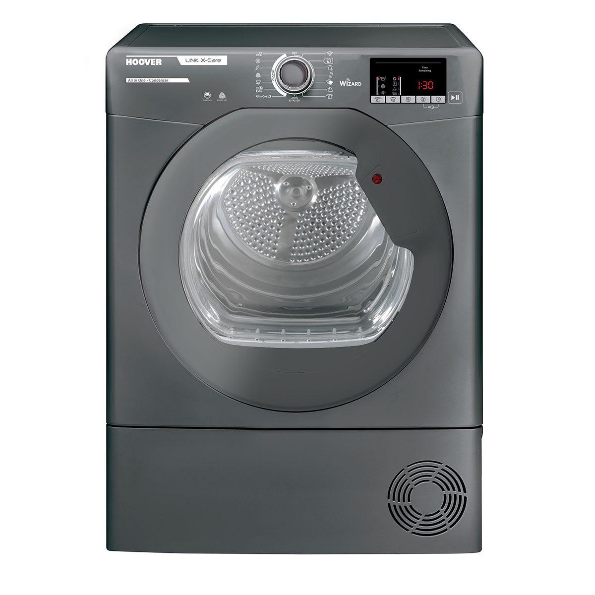 Hoover HLXC9DRGR 9kg Smart Wifi-enabled Condenser Tumble Dryer - Graphite