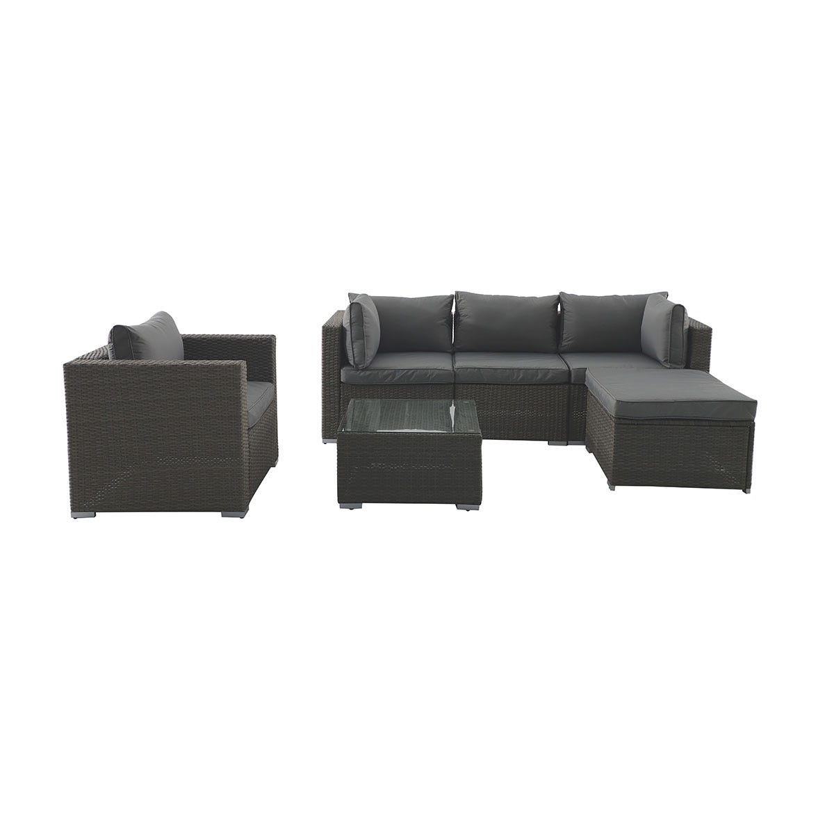 Creador 4-5 Seater Rattan Sofa Set - Brown/Grey