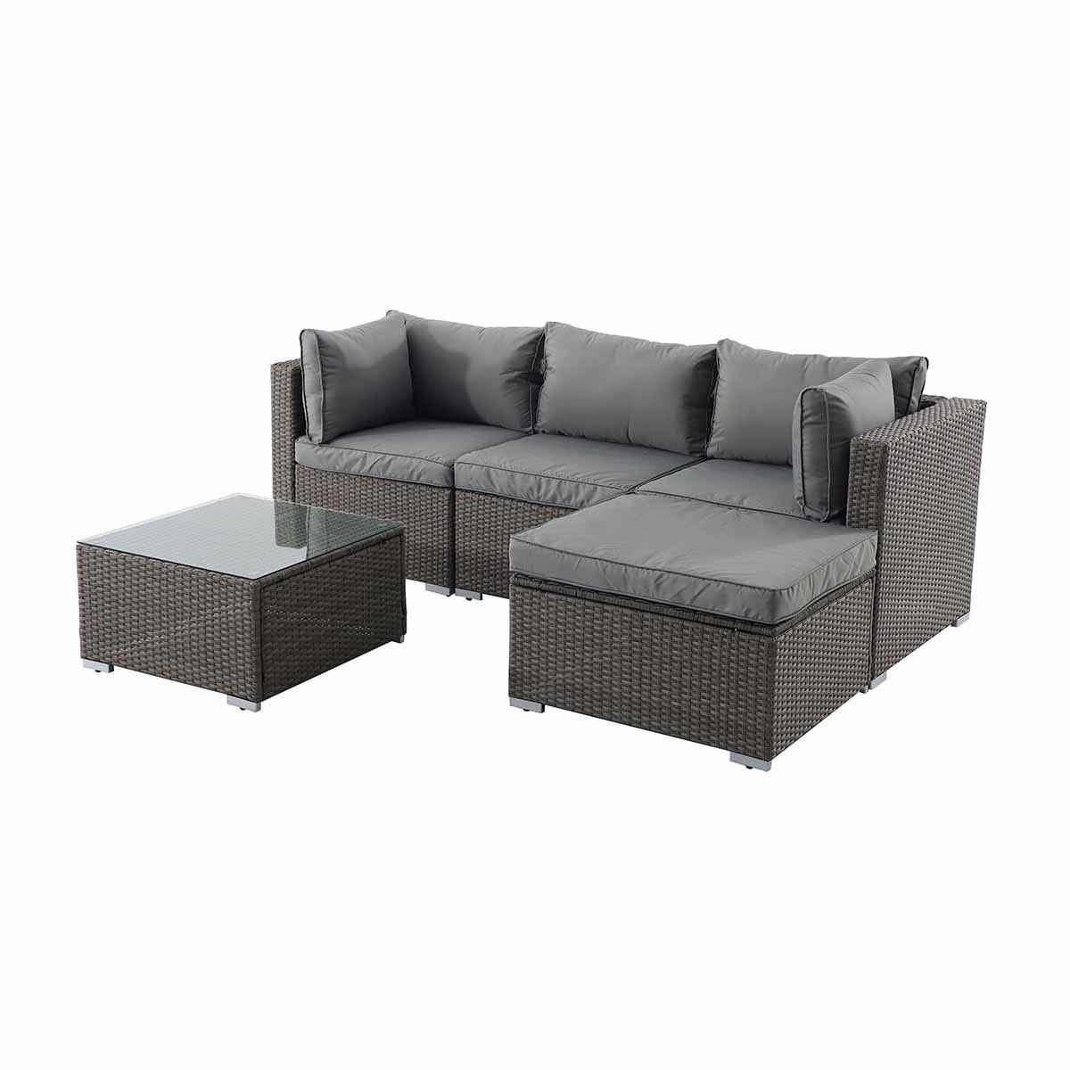 Creador 3-4 Seater Rattan Sofa Set - Brown/Grey