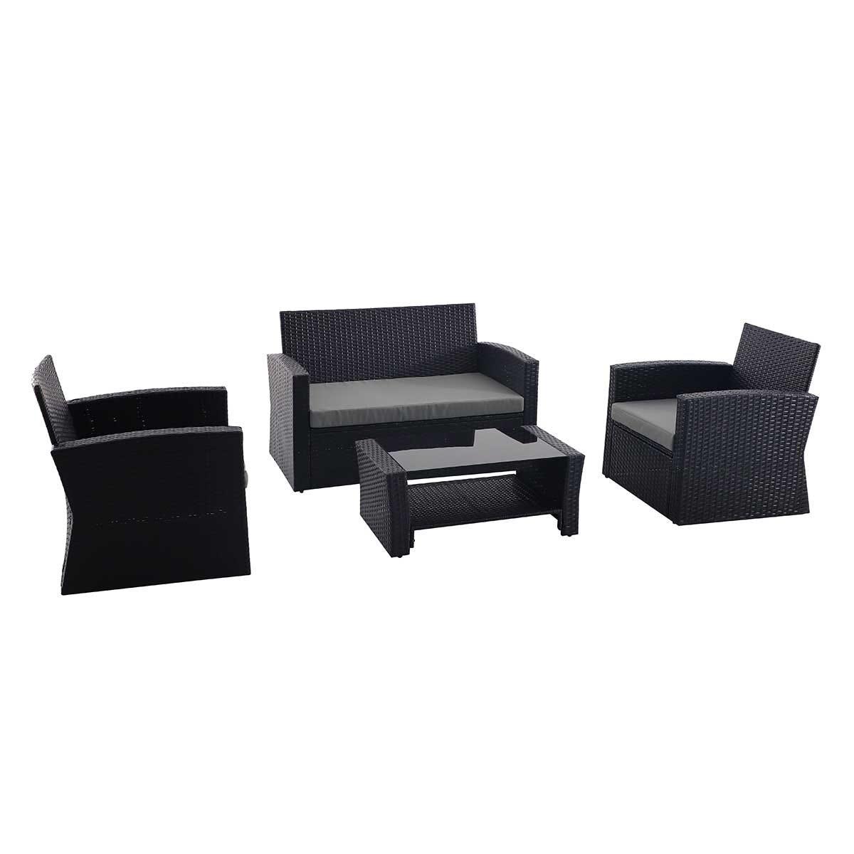 Creador 4 Seater Rattan Sofa Set - Black/Grey