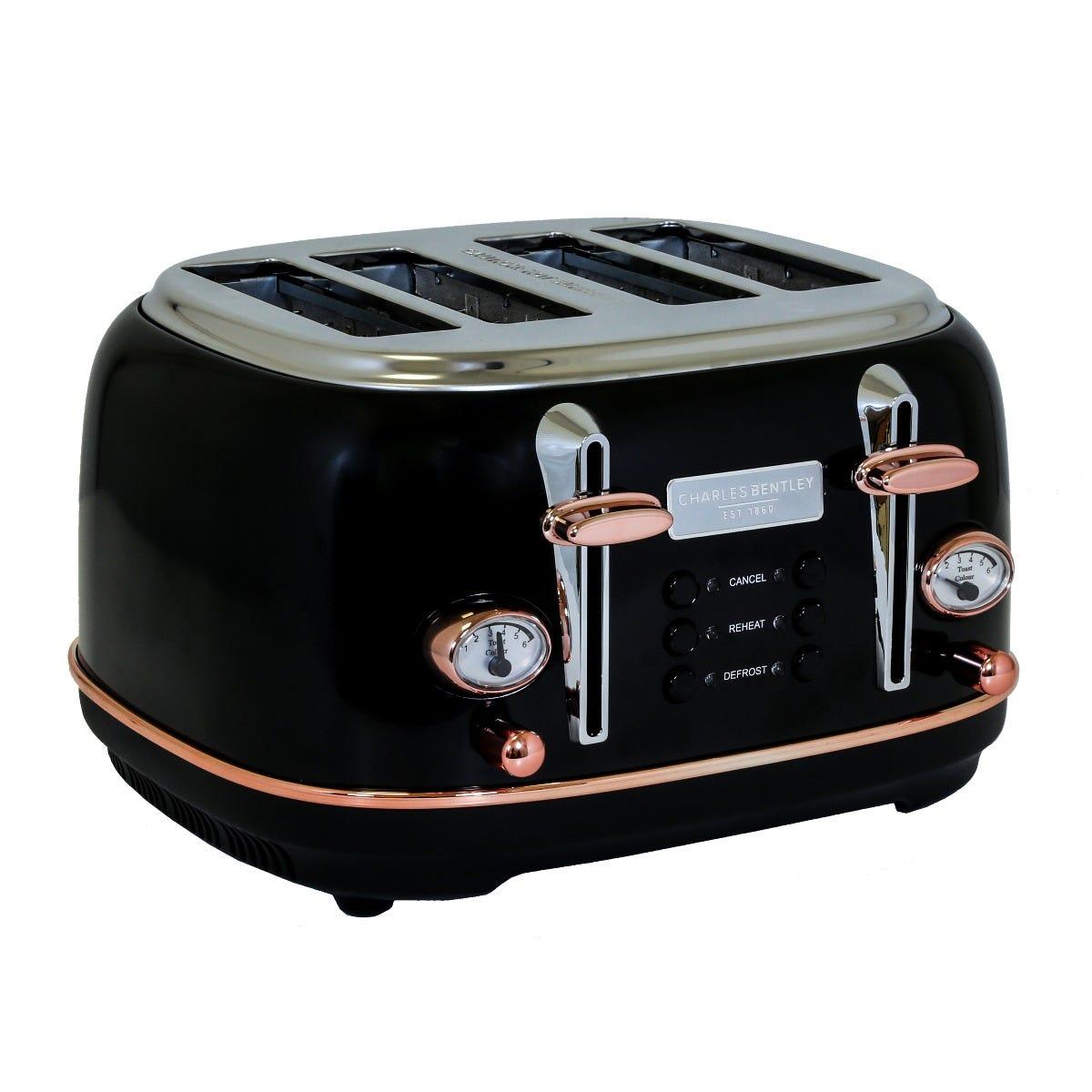 Charles Bentley TORE01BLK 4 Slice Toaster - Black & Rose Gold