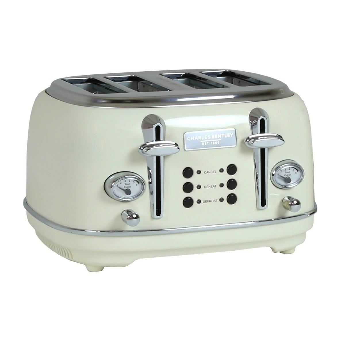 Charles Bentley TORE01CR 4 Slice Toaster - Cream & Chrome
