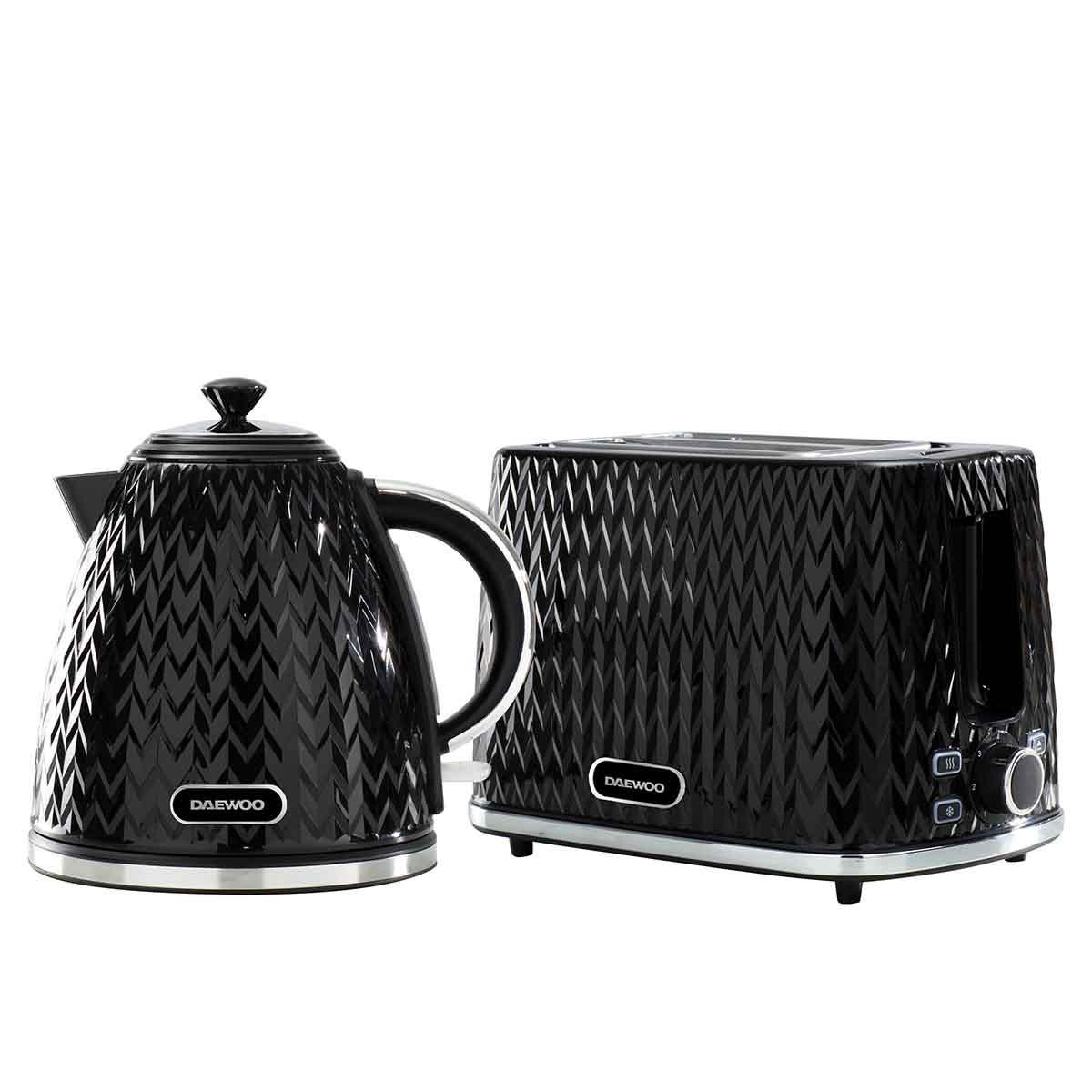 Daewoo SDA2387DS Argyle 1.7L 3KW Jug Kettle and 2 Slice Toaster Set - Black