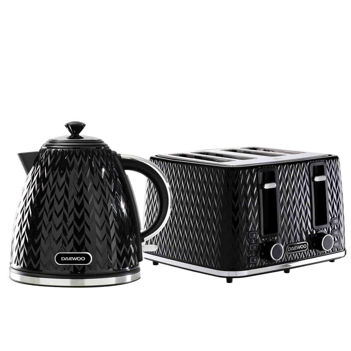Daewoo SDA2388DS Argyle 1.7L 3KW Jug Kettle and 4 Slice Toaster Set - Black