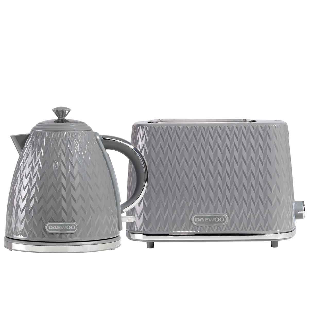 Daewoo SDA2390DS Argyle 1.7L 3KW Jug Kettle and 2 Slice Toaster Set - Dark Grey