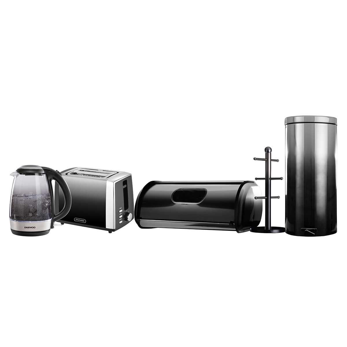 Daewoo SDA2396DS Callisto 1.7L 2200W Glass Kettle, 2 Slice Toaster, Bread Bin, Mug Tree and 20L Pedal Bin Set - Black