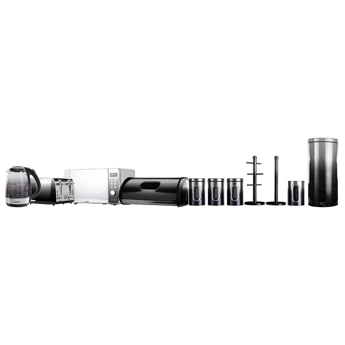 Daewoo SDA2397DS Callisto 2200W Glass Kettle, 4 Slice Toaster, 800W Digital Microwave, Bread Bin, Set of 3 Canisters, Mug Tree, Towel Holder, Utensil Pot and 30L Pedal Bin - Black
