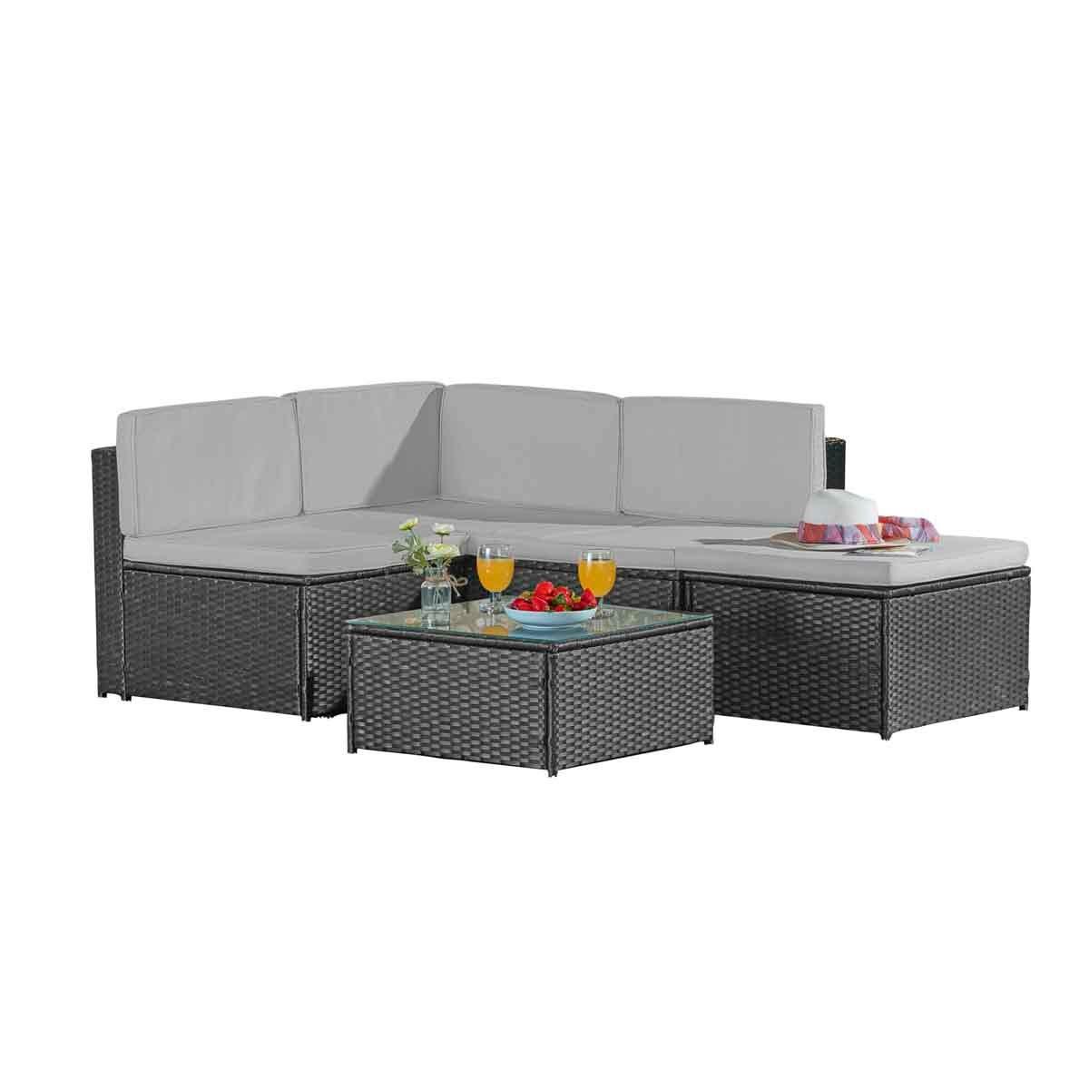 Garden Gear Milan Rattan Lounge Sofa Set with Cover - Grey