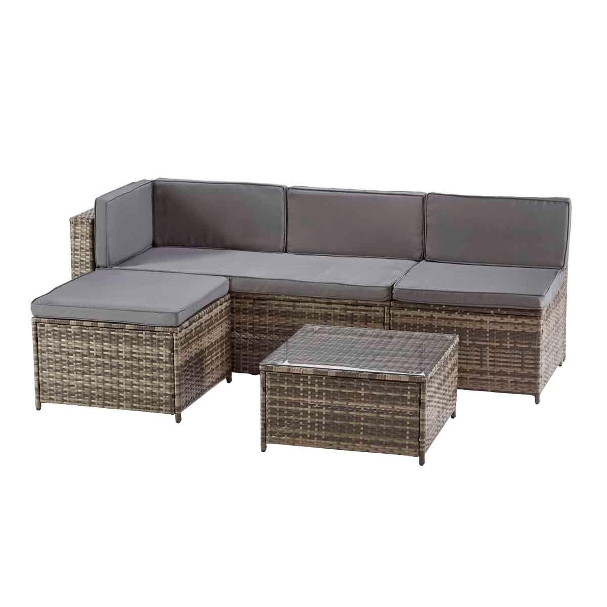 Garden Gear Milan Rattan Lounge Sofa Set with Cover - Dark Grey