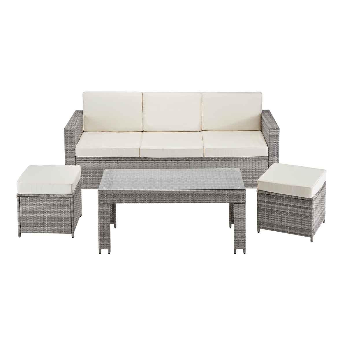 Garden Gear Riviera 5 Seat Rattan Sofa Set - Light Grey
