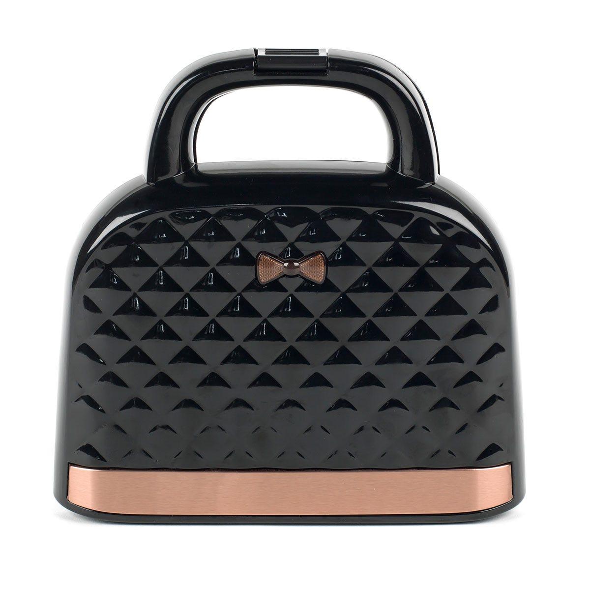 Salter EK3677 Handbag Style 2-Slice 750W Sandwich Toaster - Black and Rose Gold
