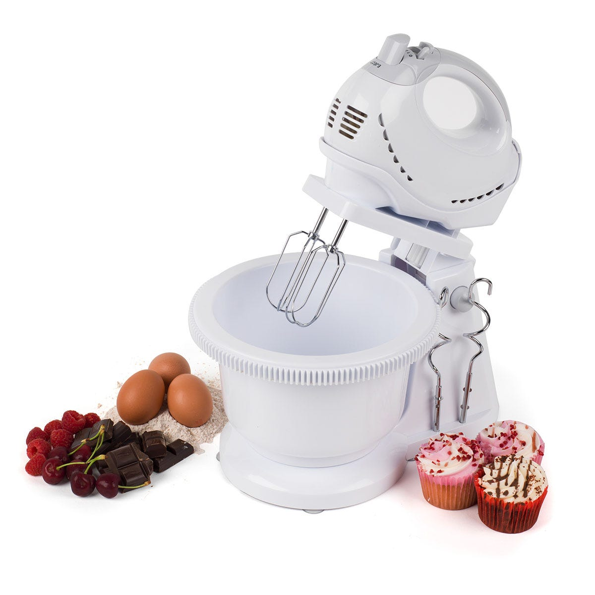 Progress EK3593P 2-in-1 250W Electric Twin Hand and Stand Mixer - White
