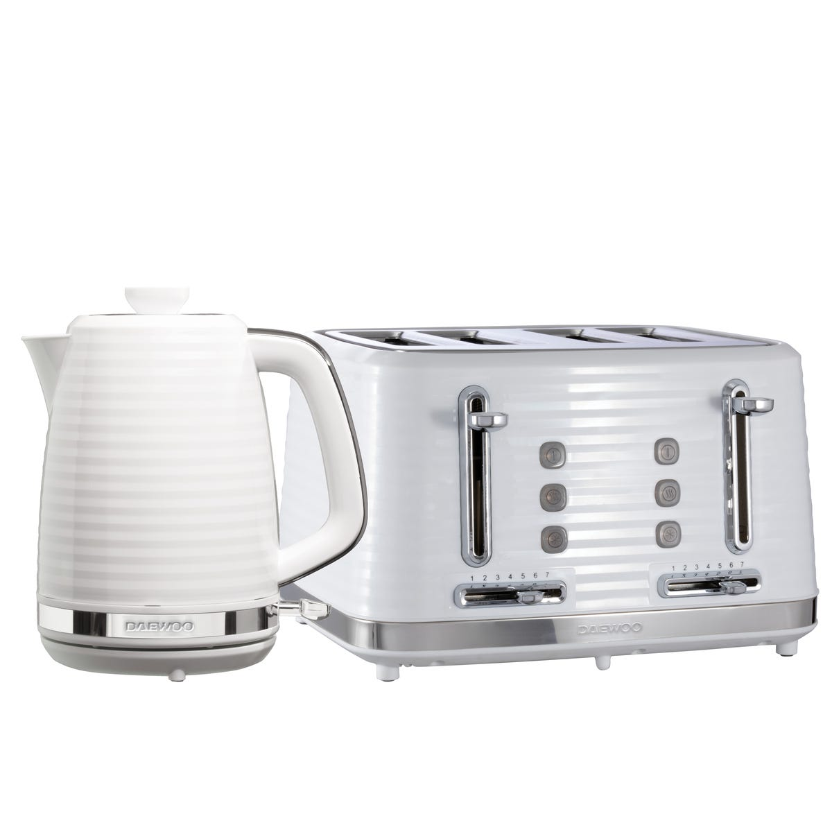 Daewoo SDA2370DS Hive 1.7L 3KW Textured Kettle and 4 Slice Toaster Set - White