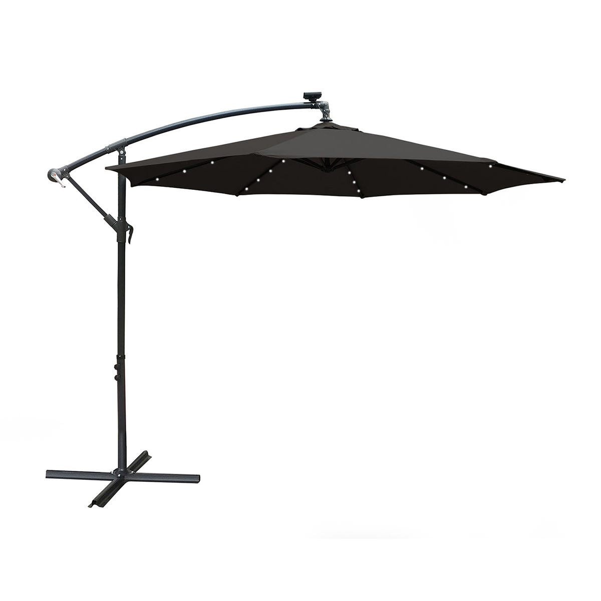 Airwave 3m Banana Hanging Parasol with Solar LED Spotlights (base not included) - Black