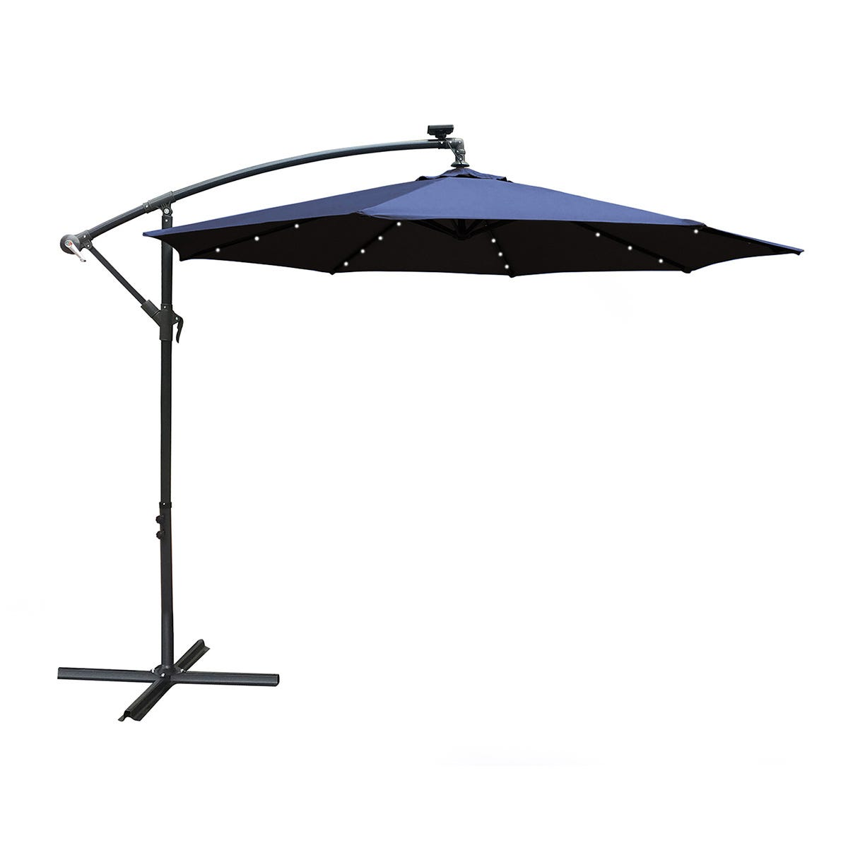 Airwave 3m Banana Hanging Parasol with Solar LED Spotlights (base not included) - Navy
