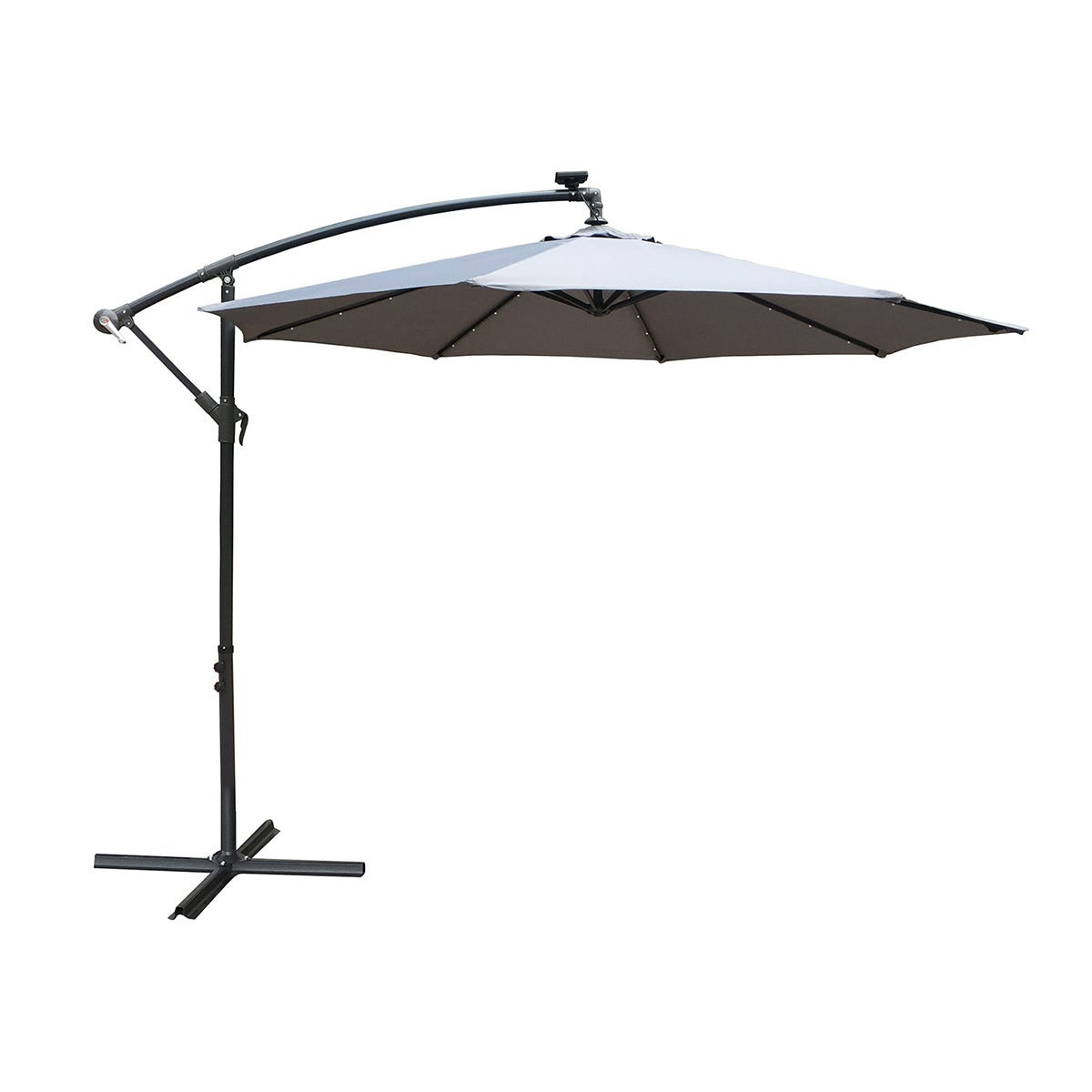 Airwave 3m Banana Hanging Parasol with Solar LED Spotlights (base not included) - Grey