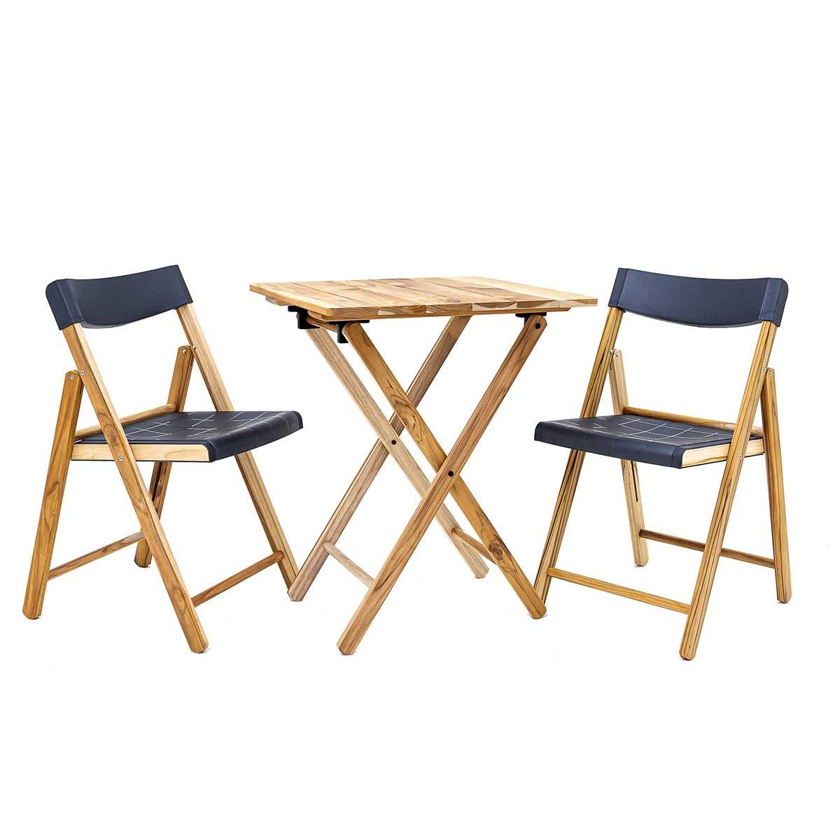 Tramontina 3 Piece Folding Bistro Set with Grey Seats