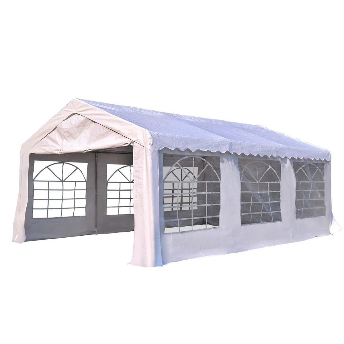 Outsunny 6 x 4m Garden Gazebo with Sides - White