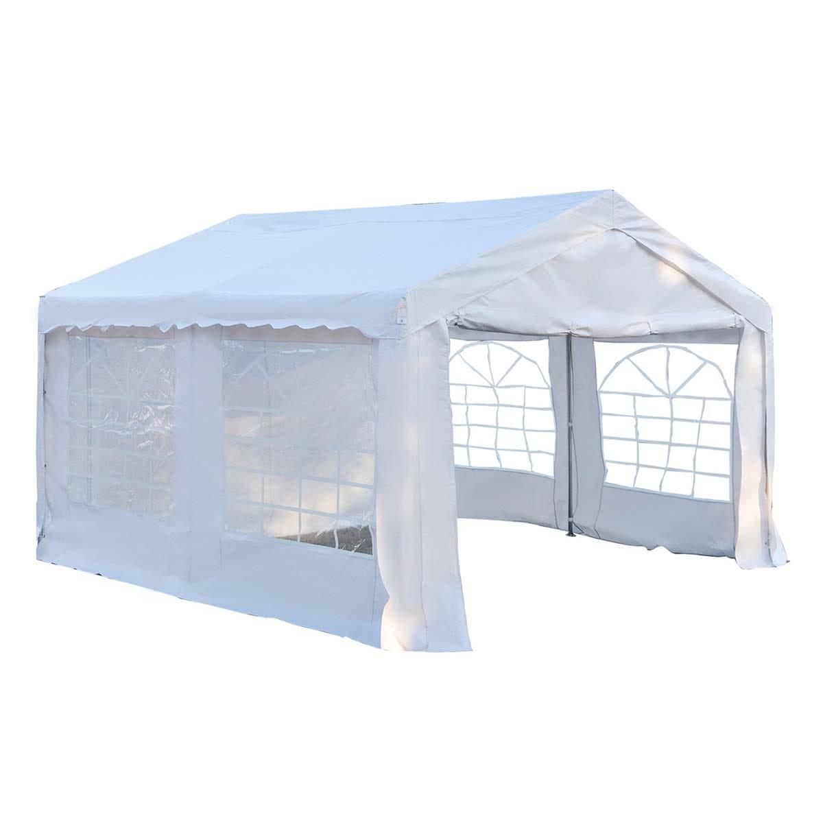 Outsunny 4 x 4m Garden Gazebo with Sides - White
