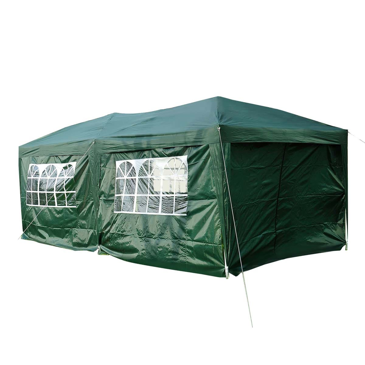 Outsunny 3 x 6m Garden Pop Up Gazebo with Sides- Green