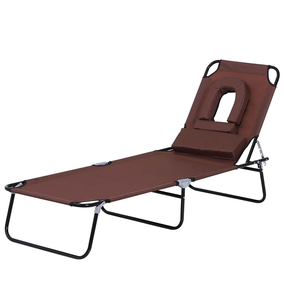 Outsunny Premium Folding Sun Lounger with Reading Hole - Brown