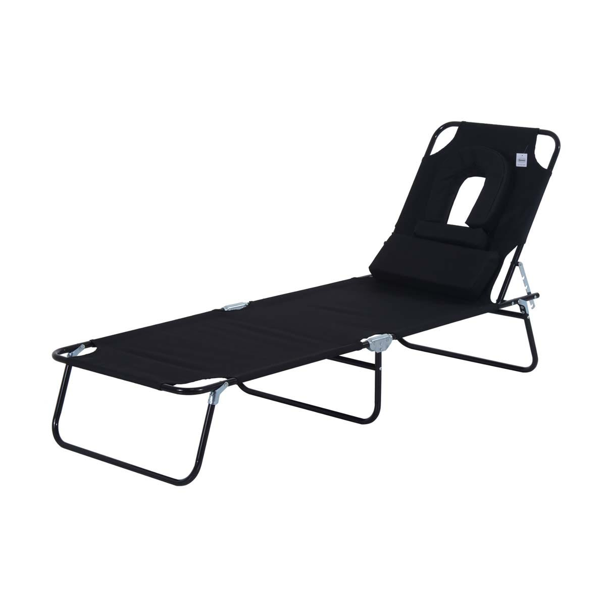 Outsunny Premium Folding Sun Lounger with Reading Hole - Black