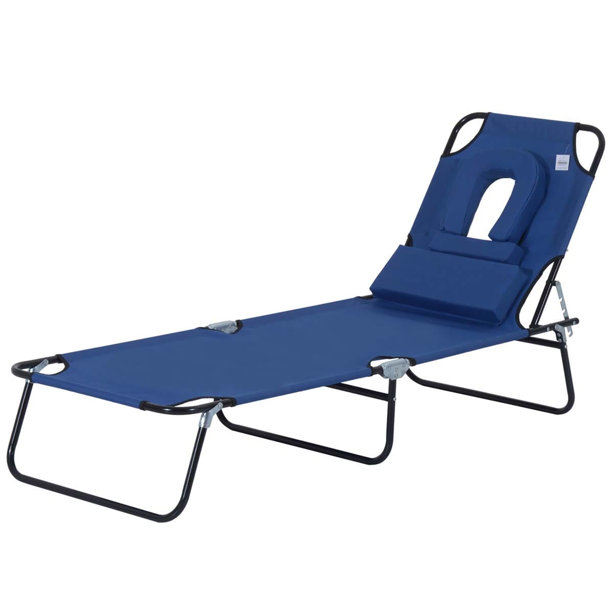 Outsunny Premium Folding Sun Lounger with Reading Hole - Blue