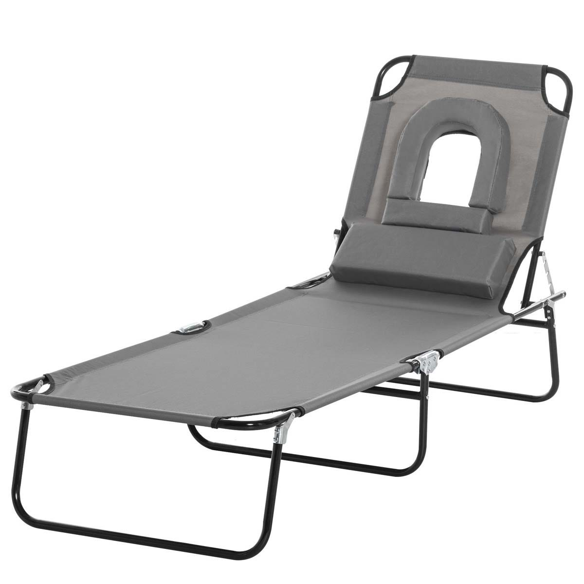 Outsunny Premium Folding Sun Lounger with Reading Hole - Grey