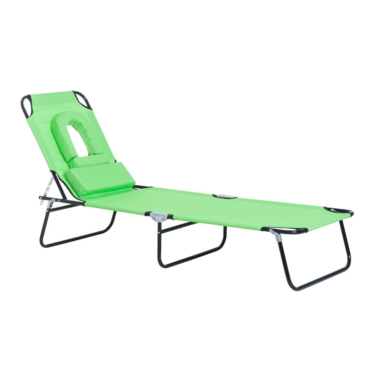 Outsunny Premium Folding Sun Lounger with Reading Hole - Green
