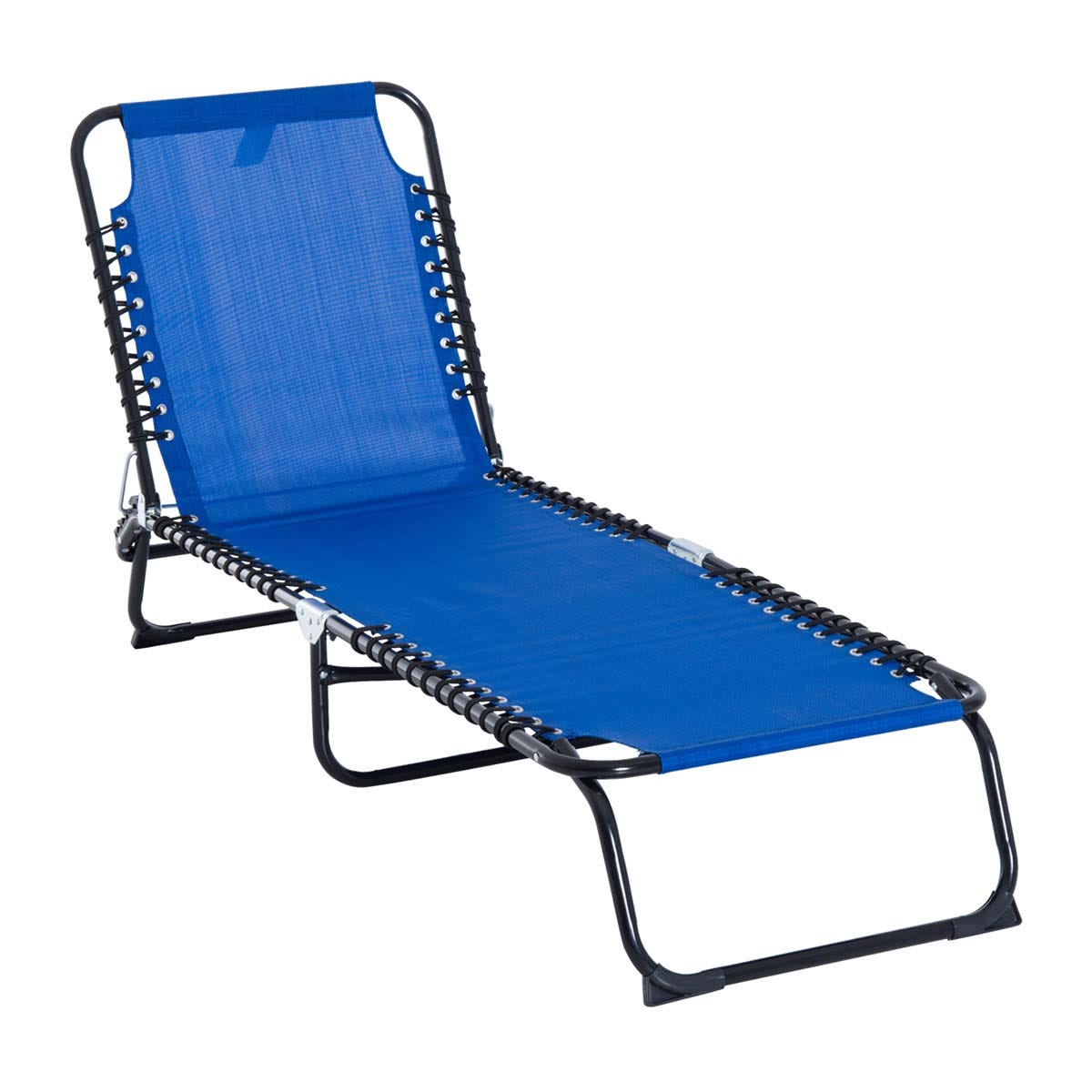 Outsunny Folding Sun Lounger - Blue